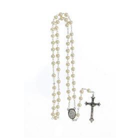 Rosario vetro Madonna di Lourdes 4 mm bianco s4