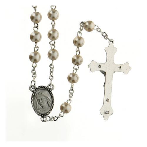 Rosario vetro Madonna di Lourdes 4 mm bianco 2