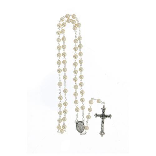 Rosario vetro Madonna di Lourdes 4 mm bianco 4