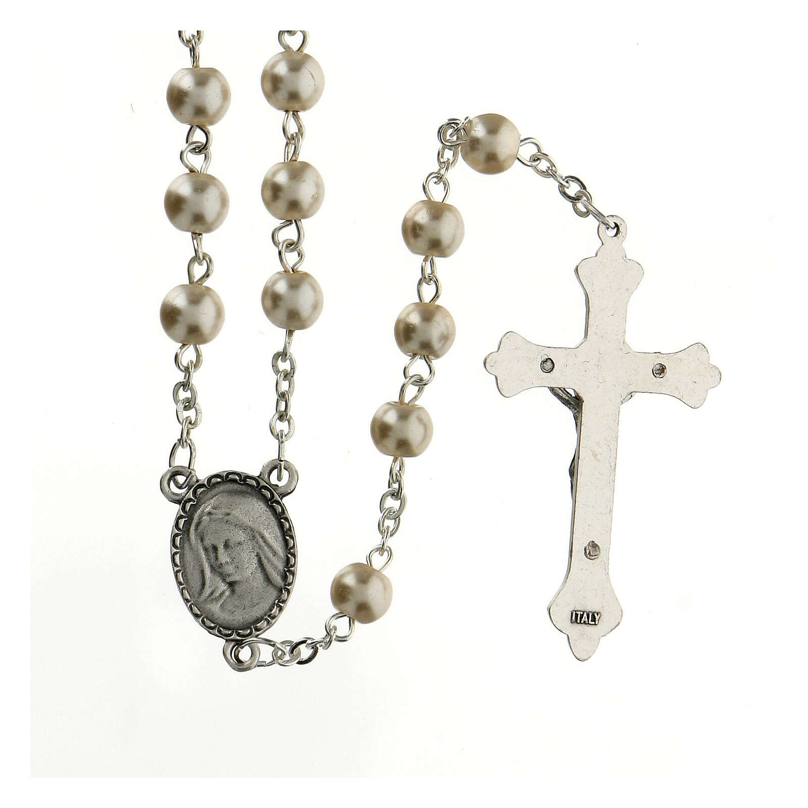 Glass rosary Our Lady of Lourdes 4 mm white 4