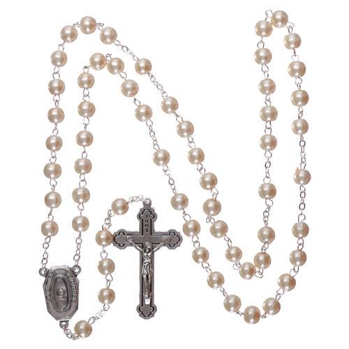 Rosario vetro Madonna di Lourdes acqua 5 mm bianco 4