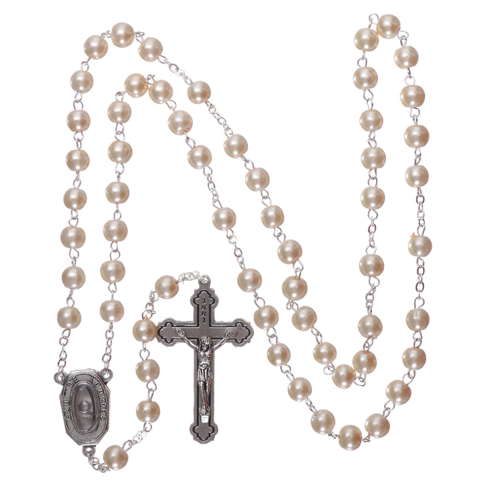 Terço vidro Nossa Senhora de Lourdes água 4 mm branco imitação madrepérola 4
