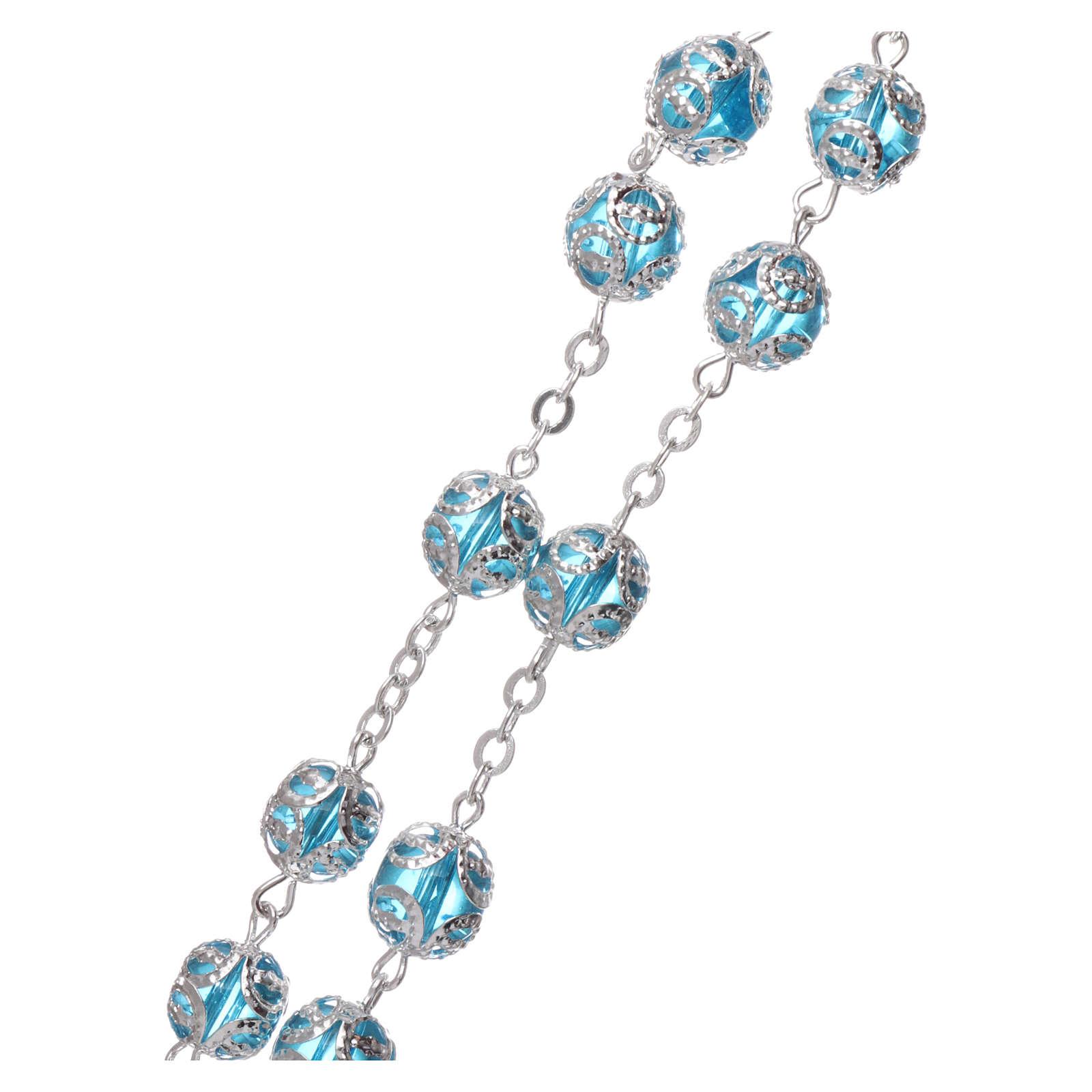 Glass rosary with 7x6 mm grains, aqua 4