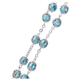 Glass rosary with 7x6 mm grains, aqua s3