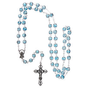 Glass rosary with 7x6 mm grains, aqua s4