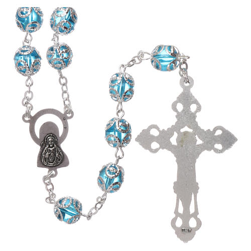 Glass rosary with 7x6 mm grains, aqua 2