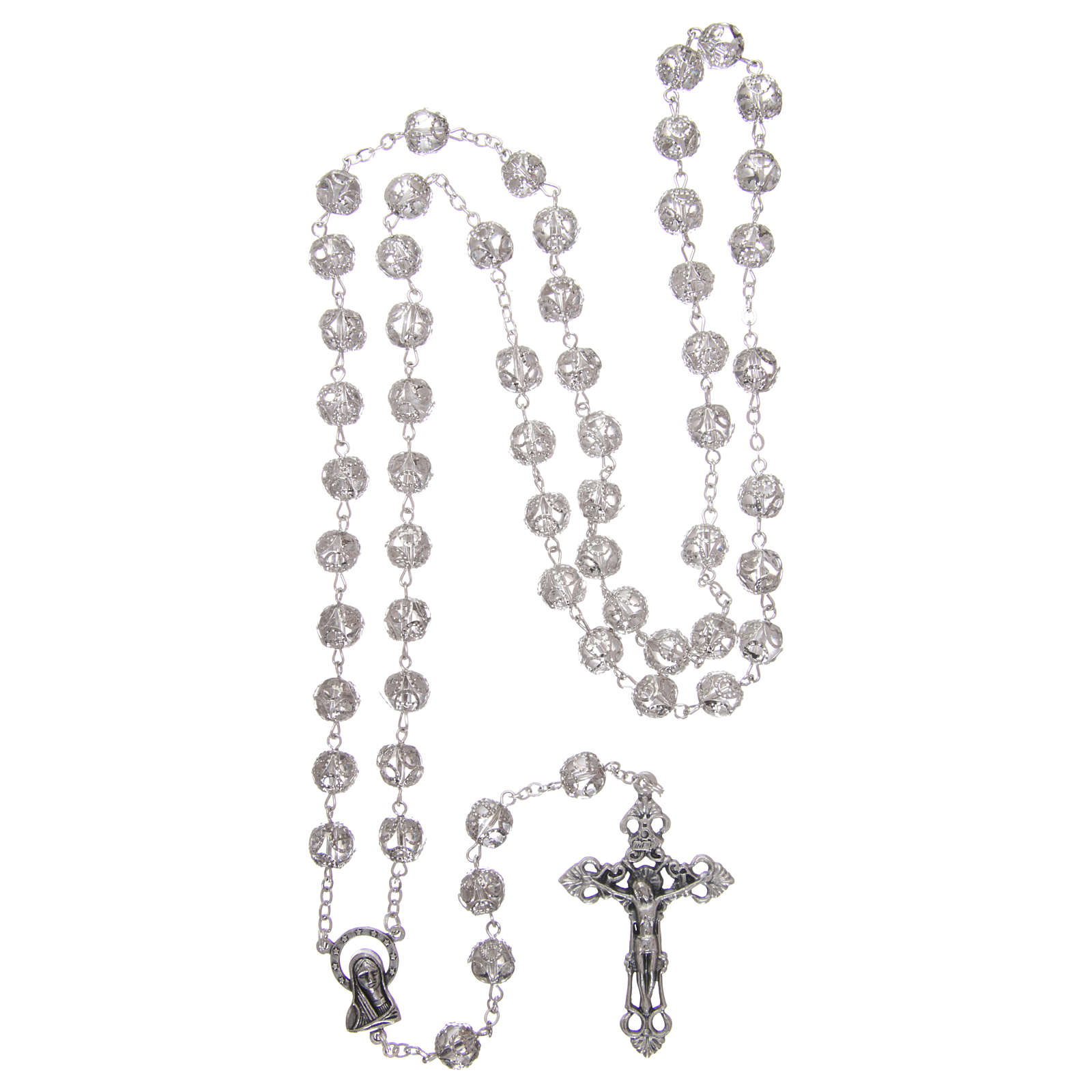Rosary in glass 7x6 mm grains, transparent 4