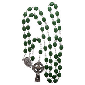Rosary in glass with 8x6 mm grains, Saint Patrick s4