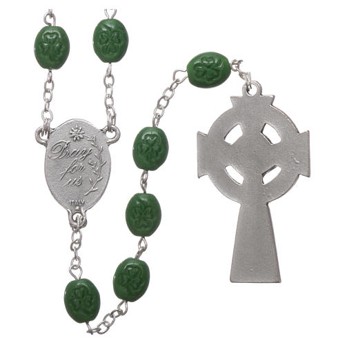 Rosary in glass with 8x6 mm grains, Saint Patrick 2