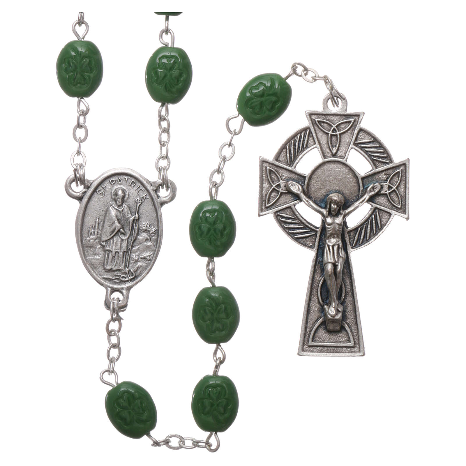 Glass rosary St Patrick clover shaped beads 8x6 mm 4