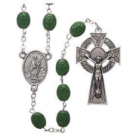 Glass rosary St Patrick clover shaped beads 8x6 mm s1