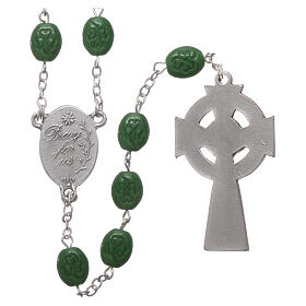 Glass rosary St Patrick clover shaped beads 8x6 mm s2
