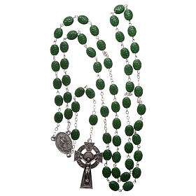 Glass rosary St Patrick clover shaped beads 8x6 mm s4