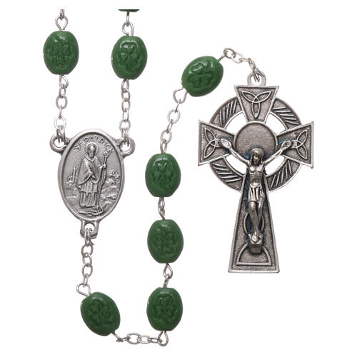 Glass rosary St Patrick clover shaped beads 8x6 mm 1