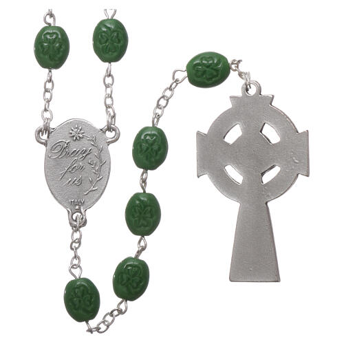 Glass rosary St Patrick clover shaped beads 8x6 mm 2