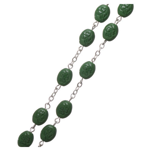 Glass rosary St Patrick clover shaped beads 8x6 mm 3