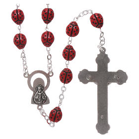 Rosary in glass with 6x5 mm ladybug-shaped grains s2
