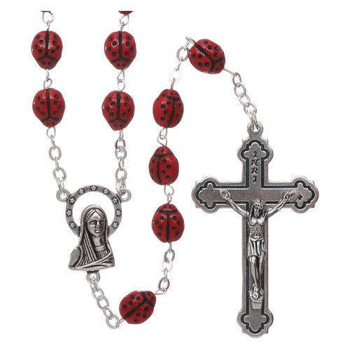Rosary in glass with 6x5 mm ladybug-shaped grains 1