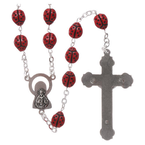Rosary in glass with 6x5 mm ladybug-shaped grains 2