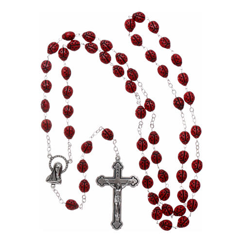 Rosary in glass with 6x5 mm ladybug-shaped grains 4