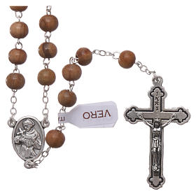Glass rosaries: Franciscan rosary in olive wood with 4x5 mm grains
