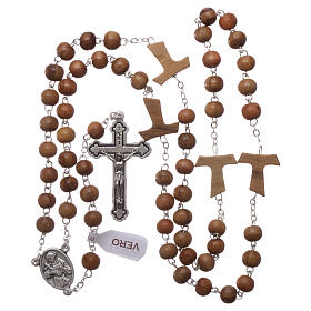Franciscan rosary in olive wood with 4x5 mm grains s4