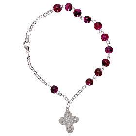 Bracelet dizainier avec fermoir grains verre tacheté violet 4 mm s2