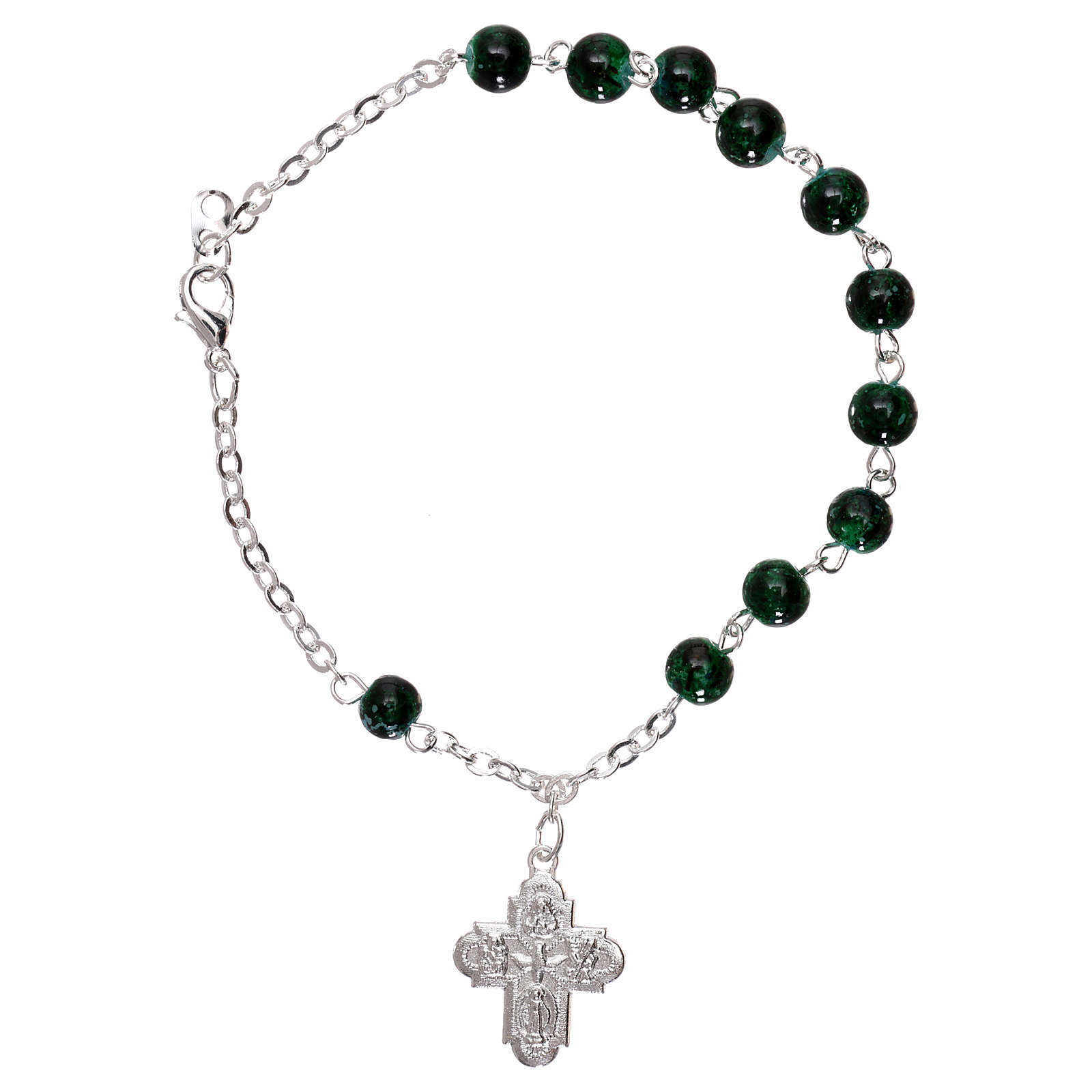 Rosary decade bracelet with fastener and glass grains, green nuances 4 mm 4