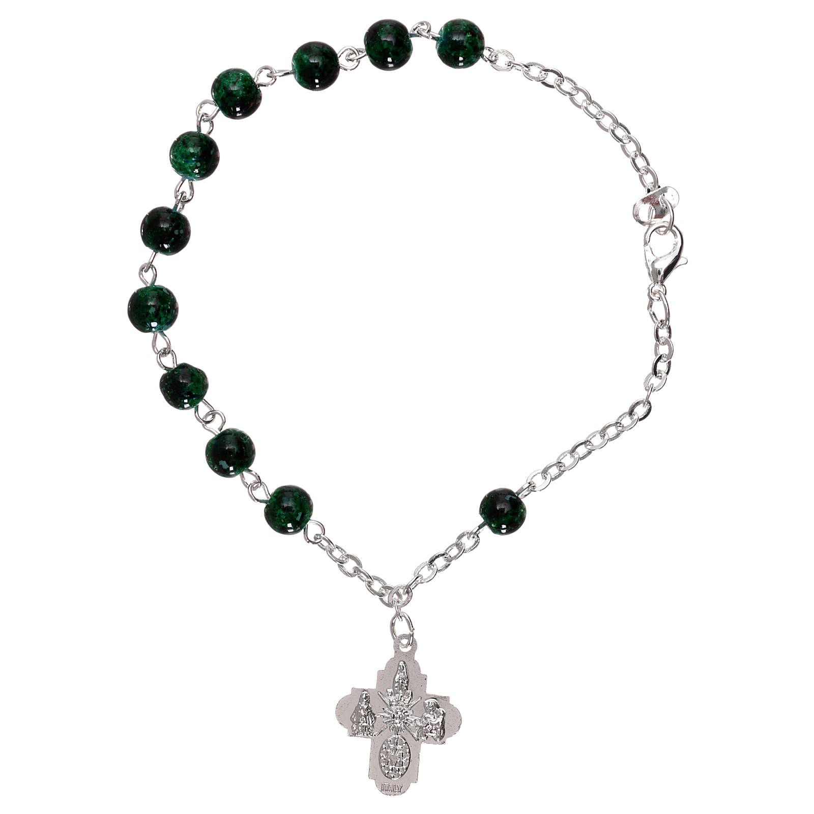Bracelet dizainier avec fermoir grains verre tacheté vert 4 mm 4