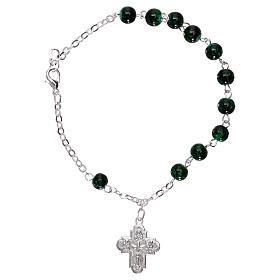 Bracelet dizainier avec fermoir grains verre tacheté vert 4 mm s2