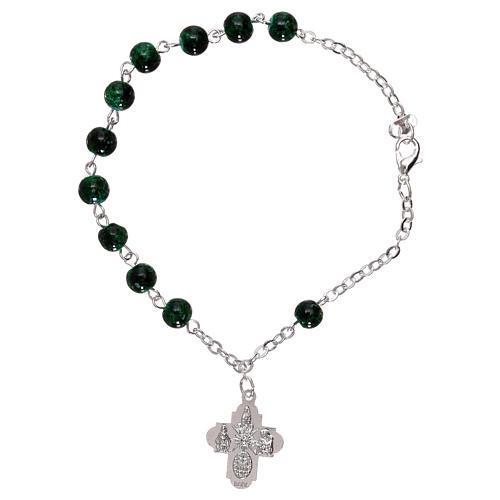 Bracelet dizainier avec fermoir grains verre tacheté vert 4 mm 1