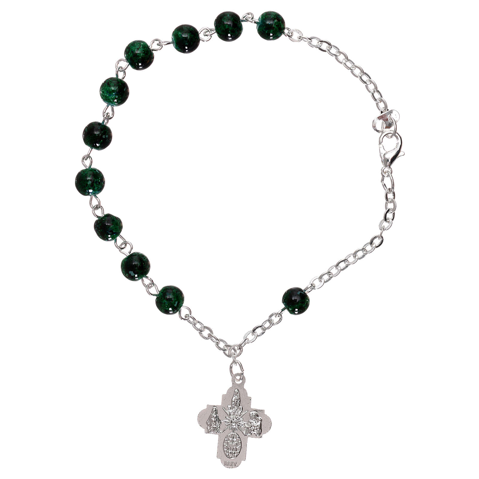 Single decade bracelet with lobster clasp glass green spotted beads 4 mm 4