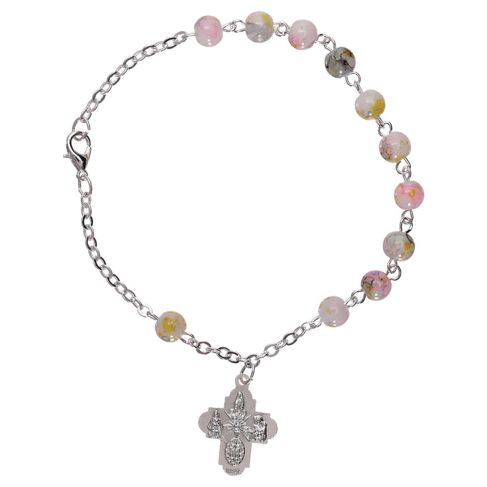 Rosary decade bracelet with fastener and glass grains, white nuances 4 mm 4
