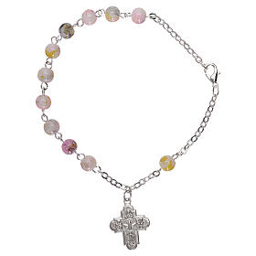 Rosary decade bracelet with fastener and glass grains, white nuances 4 mm s1