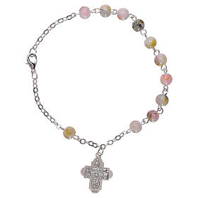 Rosary decade bracelet with fastener and glass grains, white nuances 4 mm s2
