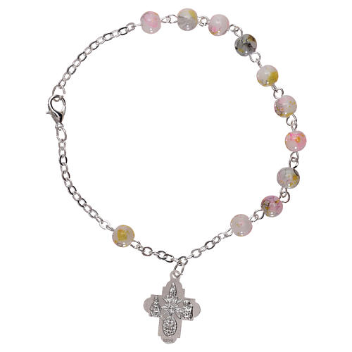 Rosary decade bracelet with fastener and glass grains, white nuances 4 mm 2