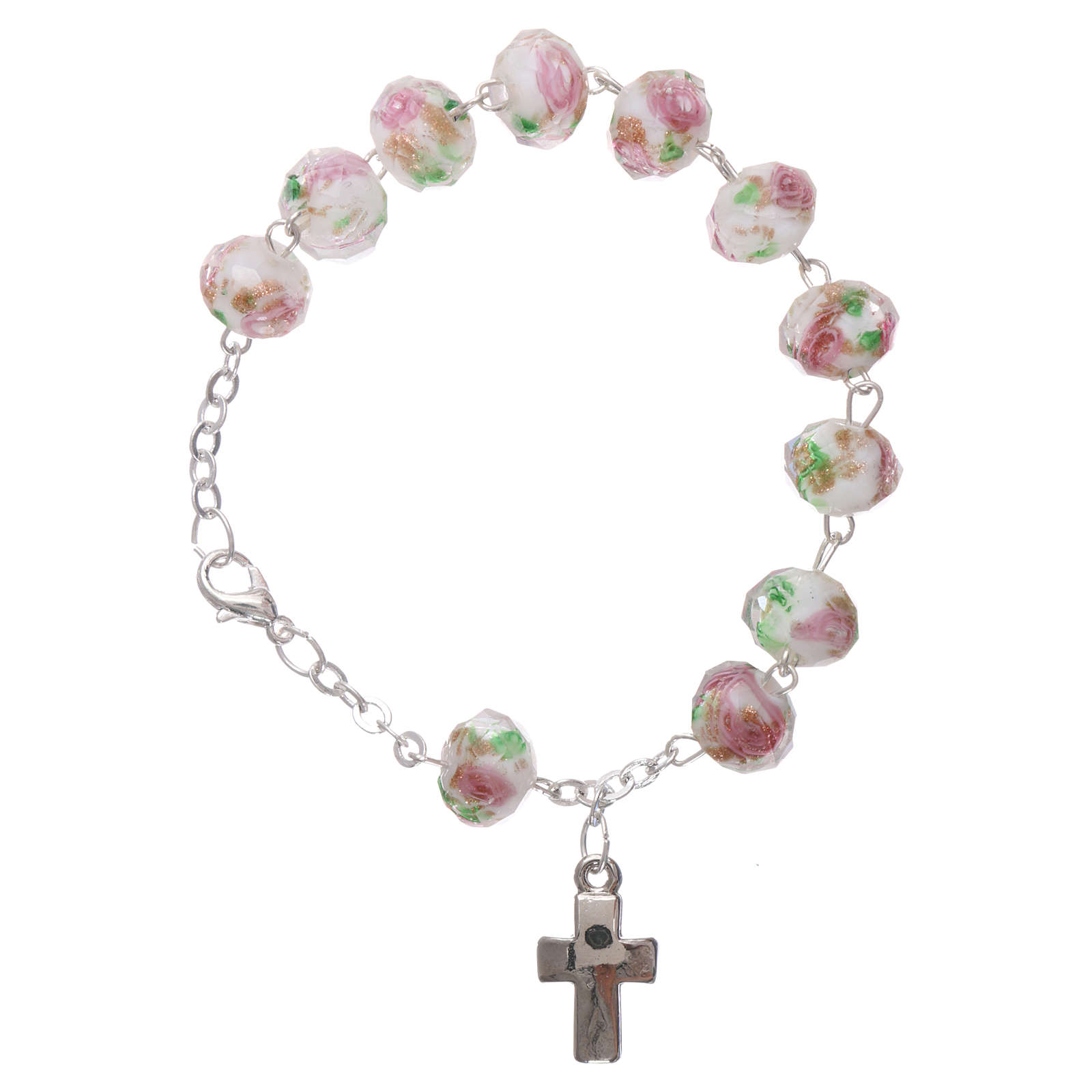 Rosary bracelet with 5x5 mm faceted white grains and roses, chain with fastener 4