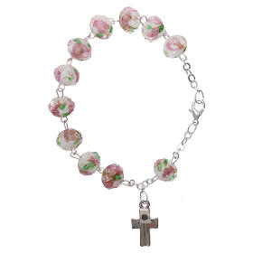 Rosary bracelet with 5x5 mm faceted white grains and roses, chain with fastener s2