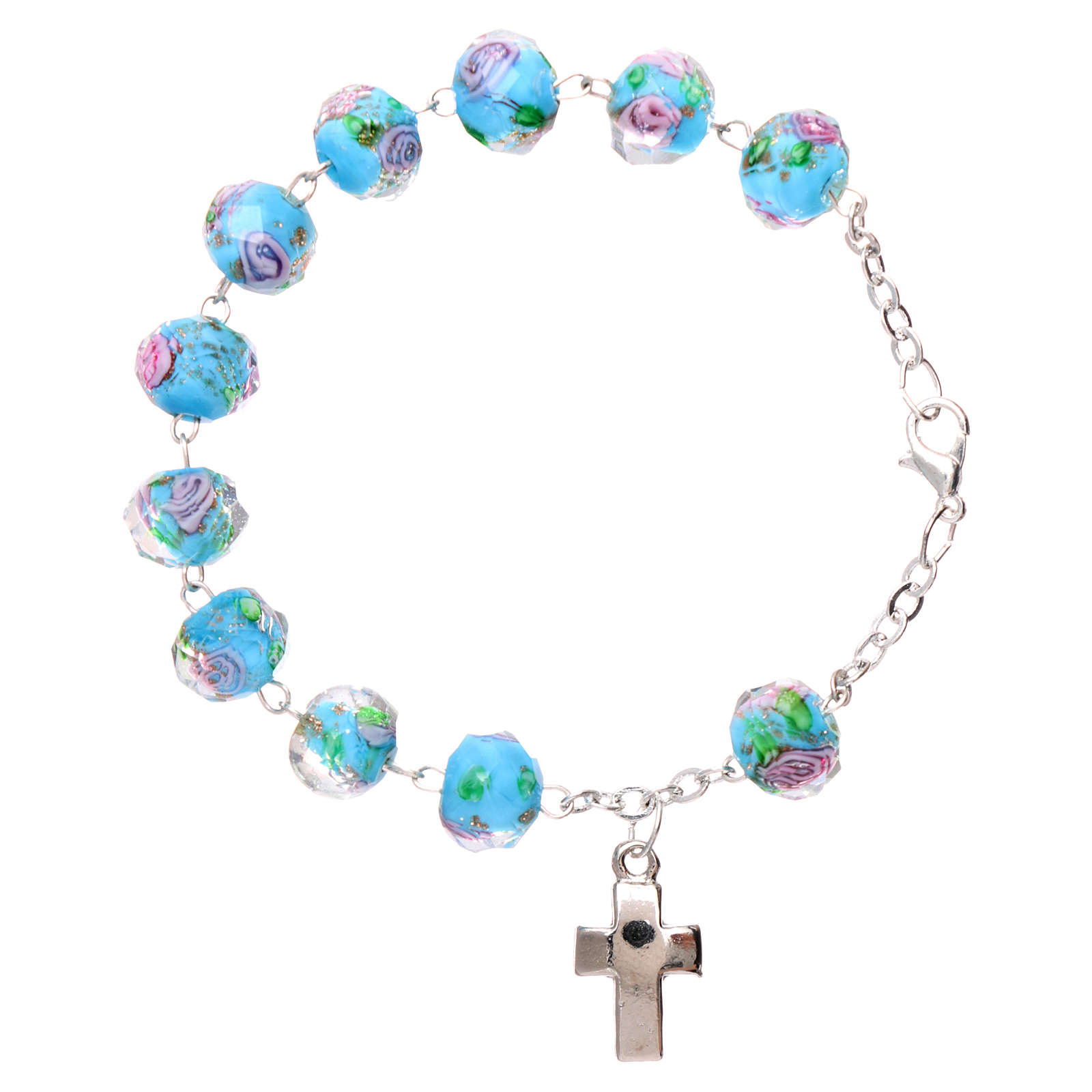 Rosary bracelet with 5x5 mm faceted light blue grains and roses, chain with fastener 4
