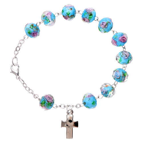 Single decade bracelet lobster clasp light blue faceted beads with rose 5 mm 1