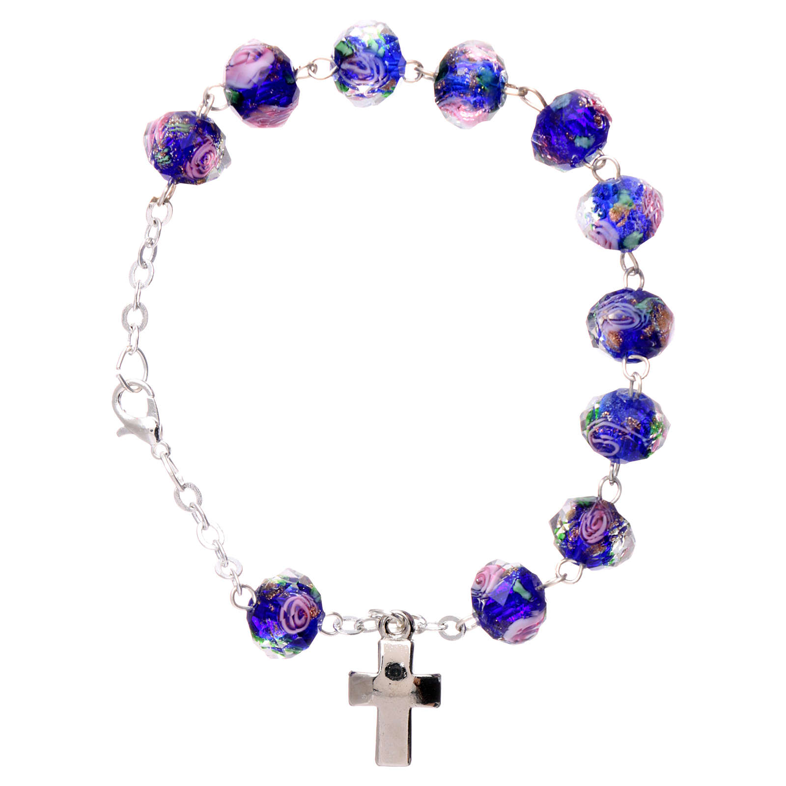 Rosary bracelet with 5x5 mm faceted blue grains and roses, chain with fastener 4