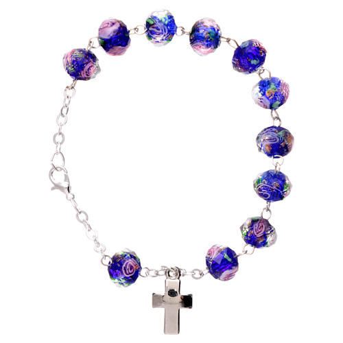 Rosary bracelet with 5x5 mm faceted blue grains and roses, chain with fastener 1