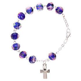 Bracelet dizainier chaîne grains bleus à facettes avec rose 5 mm s2