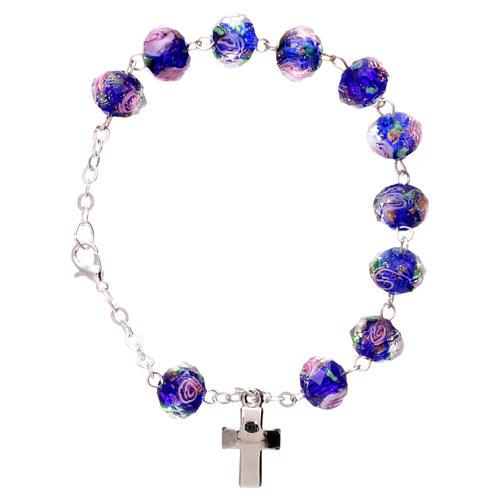 Bracelet dizainier chaîne grains bleus à facettes avec rose 5 mm 1