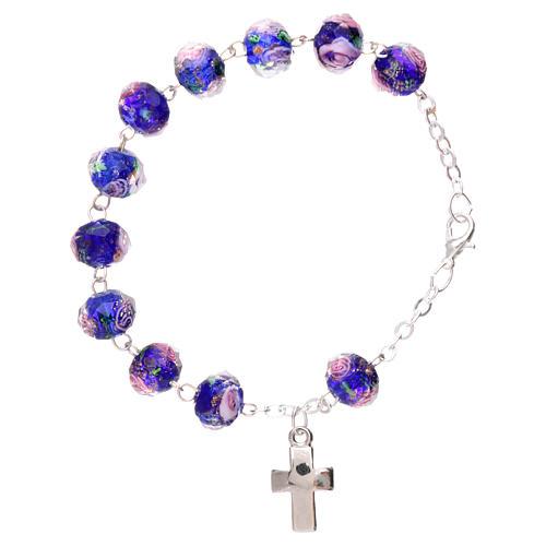 Bracelet dizainier chaîne grains bleus à facettes avec rose 5 mm 2