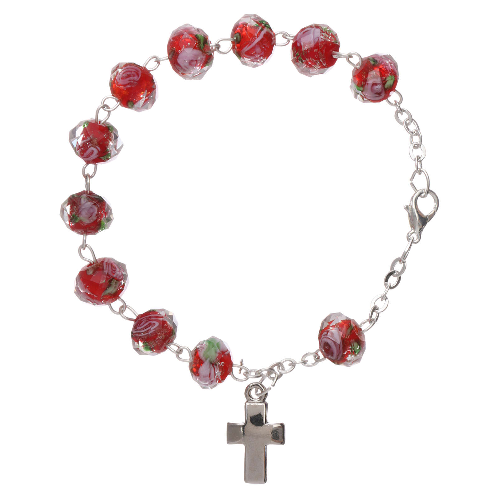 Rosary bracelet with 5x5 mm faceted ruby red grains and roses, chain with fastener 4
