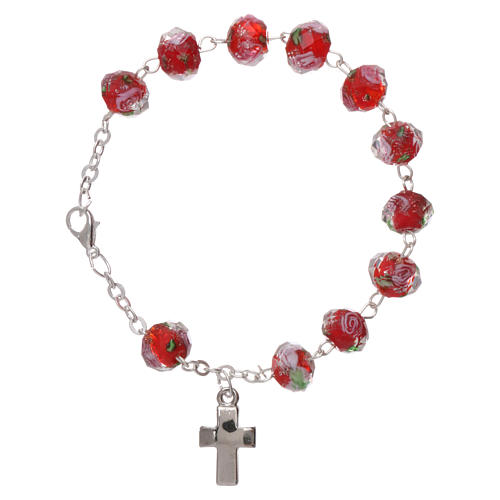 Rosary bracelet with 5x5 mm faceted ruby red grains and roses, chain with fastener 1