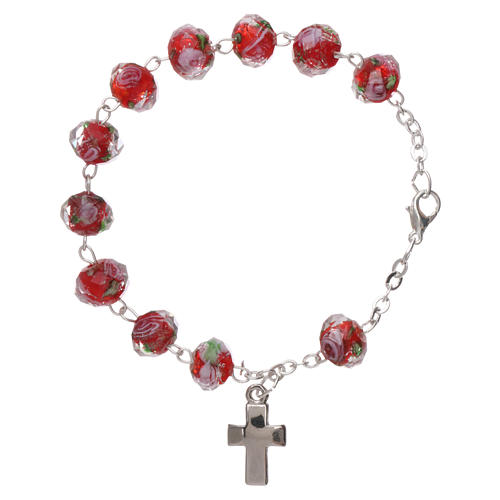 Rosary bracelet with 5x5 mm faceted ruby red grains and roses, chain with fastener 2