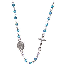 Wearable rosary with 3mm oval beads in light blue iridescent crystal s2