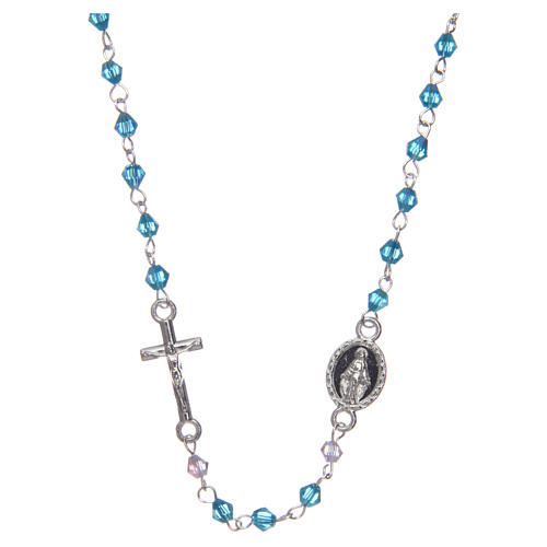 Wearable rosary with 3mm oval beads in light blue iridescent crystal 1